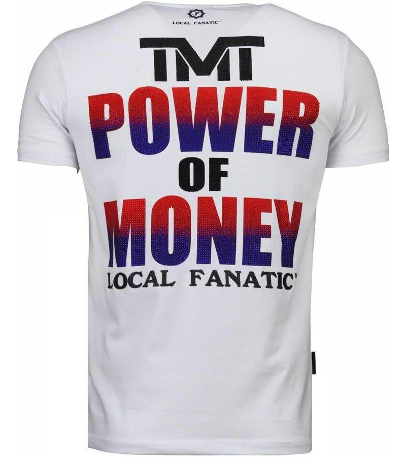 Local Fanatic Mayweather - Rhinestone T-shirt - Wit