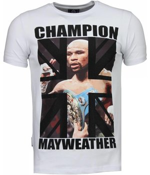 Local Fanatic Mayweather - Rhinestone T-shirt - Wit