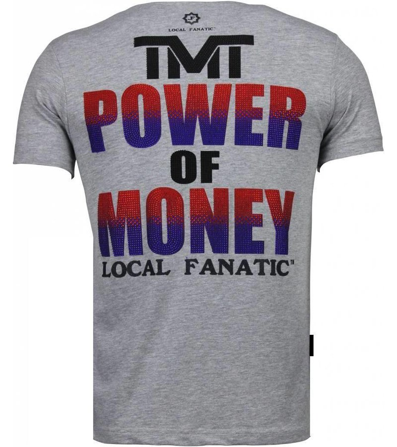 Local Fanatic Mayweather - Rhinestone T-shirt - Grijs