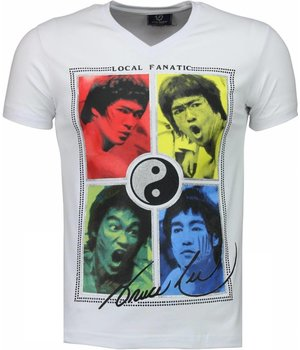 Local Fanatic Bruce Lee Ying Yang - T-shirt - Wit
