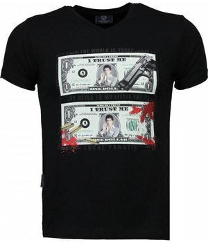 Local Fanatic Scarface Dollar - T-shirt - Zwart