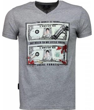 Local Fanatic Scarface Dollar - T-shirt - Grijs