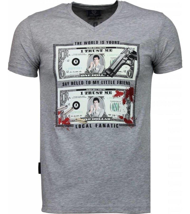 Local Fanatic Scarface Dollar - T-shirt - Grijs
