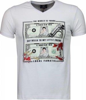 Local Fanatic Scarface Dollar - T-shirt - Wit