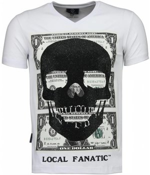 Local Fanatic One Dollar Skull Head - T-shirt - Wit