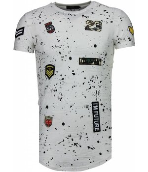 John H Exclusief Military Patches Paint Splash - T-Shirt - Wit