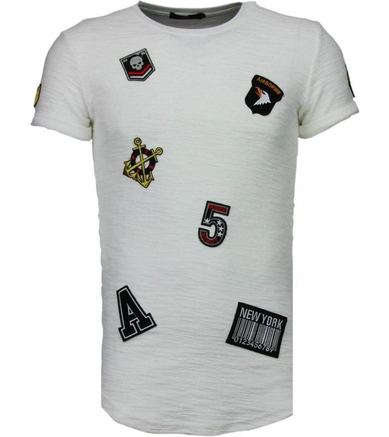 John H Exclusief Military Patches - T-Shirt - Wit