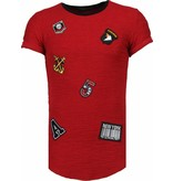 John H Exclusief Military Patches - T-Shirt - Bordeaux