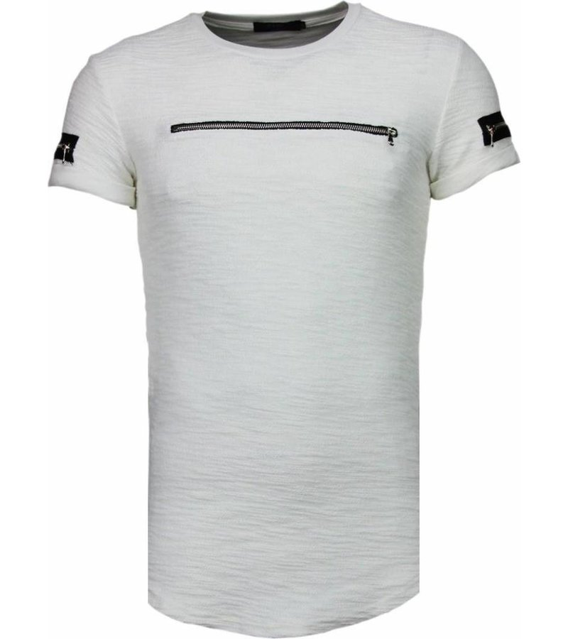 John H Exclusief Zipped Chest - T-Shirt - Wit