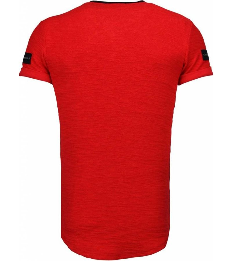 John H Exclusief Zipped Chest - T-Shirt - Rood