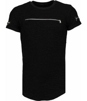 John H Exclusief Zipped Chest - T-Shirt - Zwart
