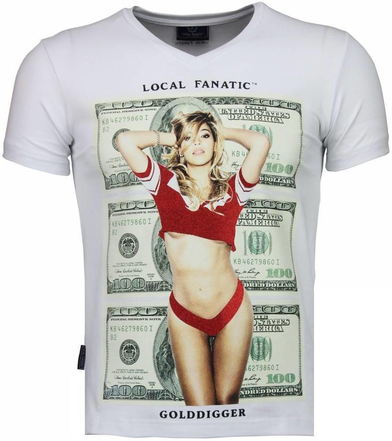 Local Fanatic Golddigger Dollar - T-shirt - Wit