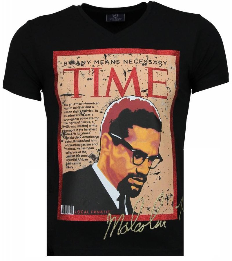 Local Fanatic Malcolm X - T-shirt - Zwart