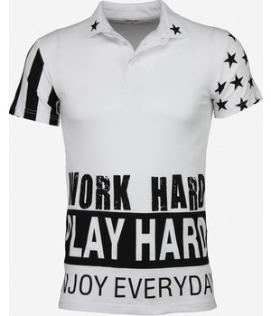KariQu Casual Polo - Work Hard Play Hard - Wit