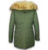 Adrexx Bontjassen - Dames Winterjas Middel - Canada Style - Nep Bontkraag - Groen