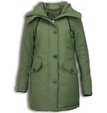 Style Italy Bontjassen - Dames Winterjas Middel - Canada Style - Nep Bontkraag - Groen