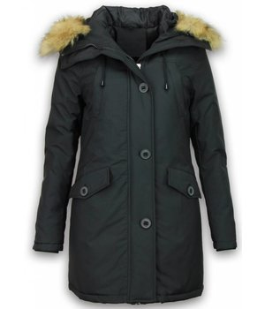 Adrexx Bontjassen - Dames Winterjas Middel - Canada Style - Bontkraag - Zwart