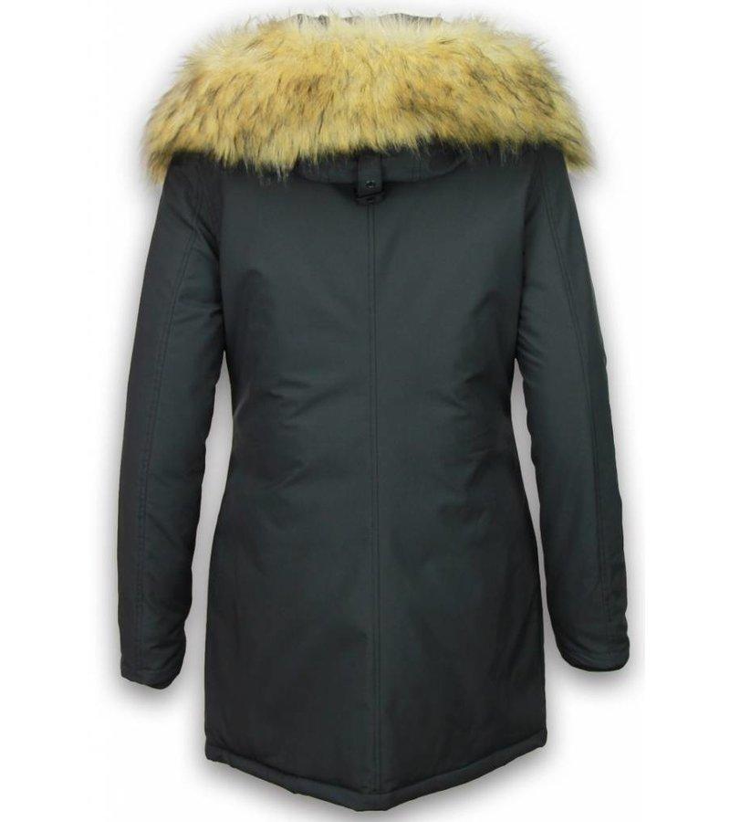 Adrexx Bontjassen - Dames Winterjas Middel - Canada Style - Nep Bontkraag - Zwart