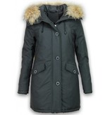 Style Italy Bontjassen - Dames Winterjas Middel - Canada Style - Nep Bontkraag - Zwart