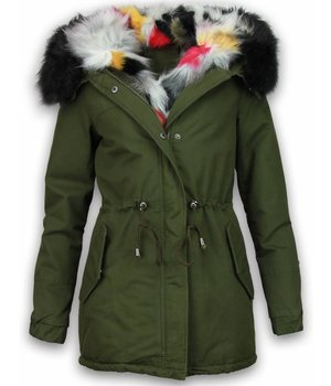 Adrexx Bontjassen - Dames Winterjas - Army Style - Colored Fur Hoodie - Groen