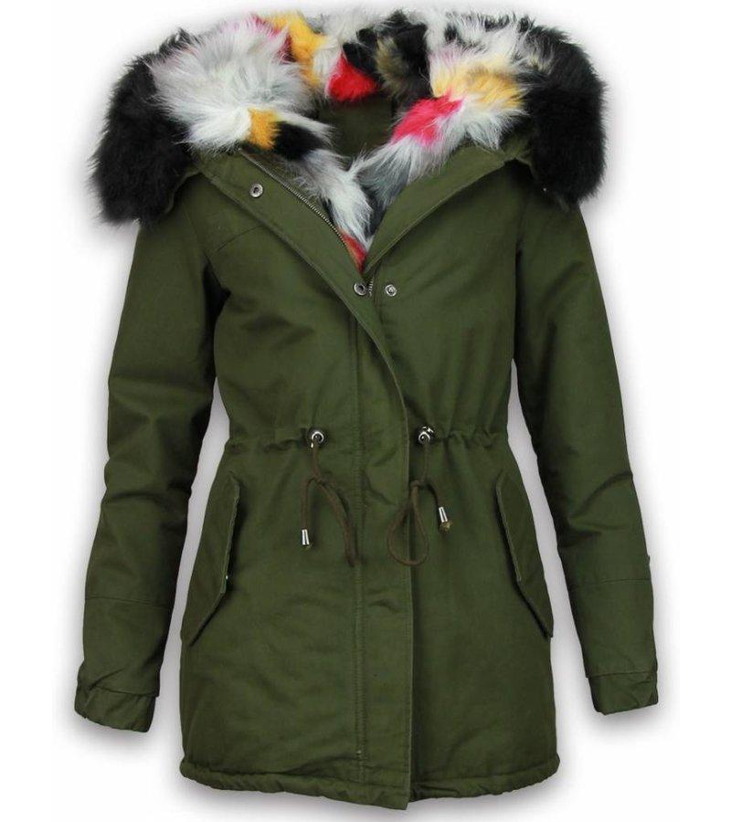 Adrexx Bontjassen - Dames Winterjas - Army Style - Colored Fur Hoodie - Groen