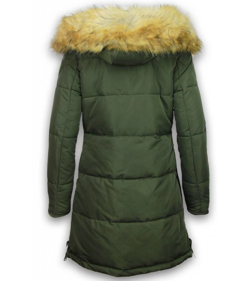 Adrexx Bontjassen - Dames Winterjas - Parka A Style - Hoodie - Groen