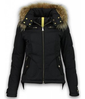 Milan Ferronetti Bontjassen - Dames Winterjas Kort - Basic Fit Exclusive - Zwart
