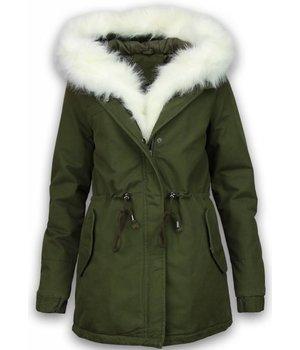 Style Italy Bontjassen - Dames Winterjas - Army Style - White Fur Hoodie - Groen