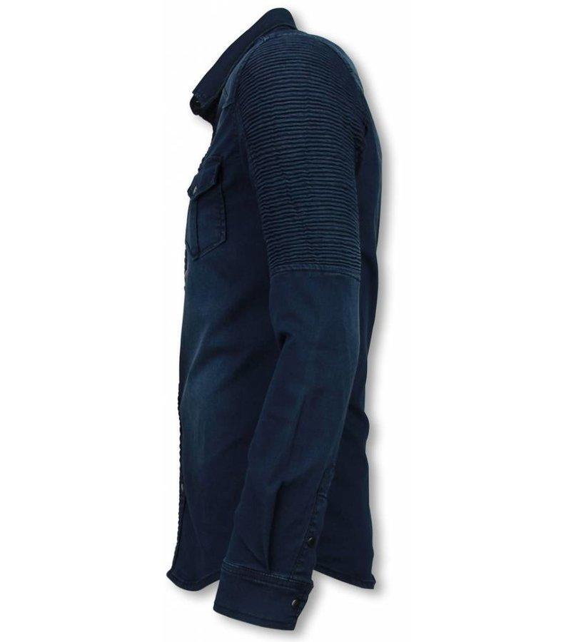 Diele & Co Biker Denim Shirt - Slim Fit Ribbel Schoulder - Blauw