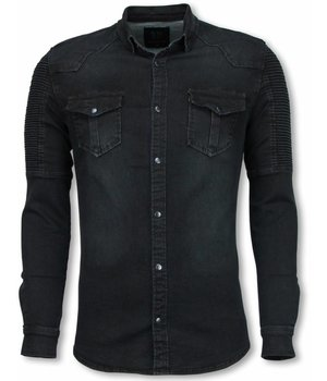 Diele & Co Biker Denim Shirt - Slim Fit Ribbel Schoulder - Zwart