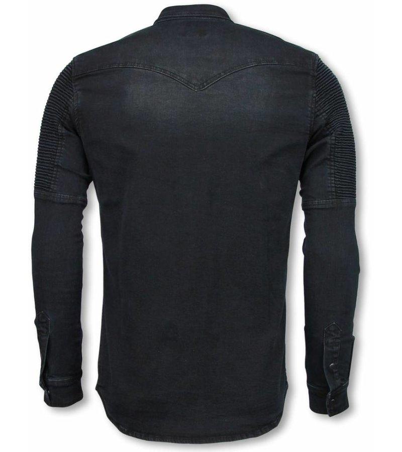 Diele & Co Biker Denim Shirt - Slim Fit Ribbel Schoulder - Zwart