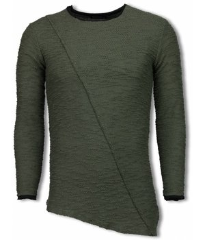 Uniplay Ripped Look Stiched Shirt- Long Fit Sweater - Groen