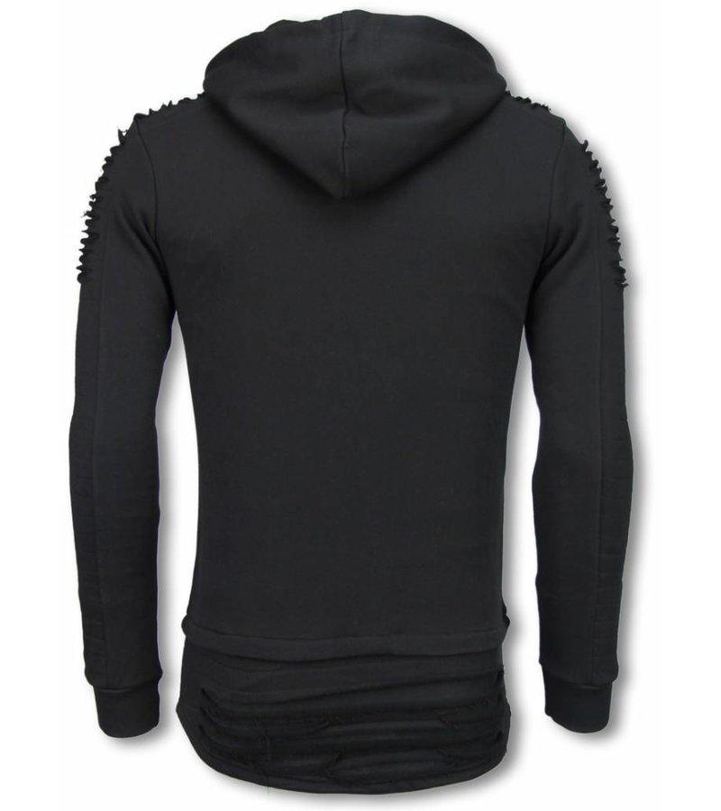 Berry Denim Ripped Shoulder - Long Fit Hoodie - Zwart