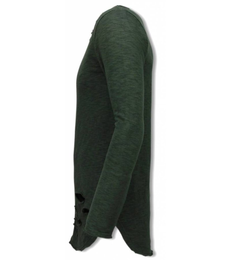 © MAN Damaged Look Shirt - Long Fit Sweater - Groen