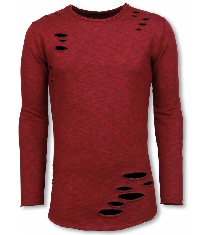 © MAN Damaged Look Shirt - Long Fit Sweater - Bordeaux