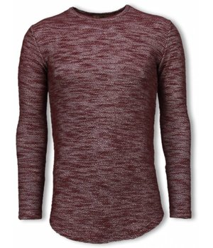 © MAN Gemeleerde Shirt - Long Fit Sweater - Bordeaux