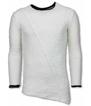 Uniplay Ripped Look Stiched Shirt - Long Fit Sweater - Wit
