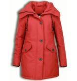 Adrexx Bontjassen - Dames Winterjas Middel - Canada Style - Nep Bontkraag - Rood