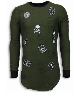 John H Military Patches Trui - Long Fit Sweater Shirt - Groen