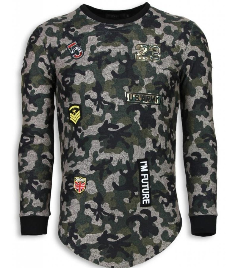John H 23th US Army Camouflage Shirt - Long Fit Sweater - Groen