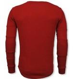 John H Ribbel Schoulder Trui - Damaged Pocket Sweater - Rood