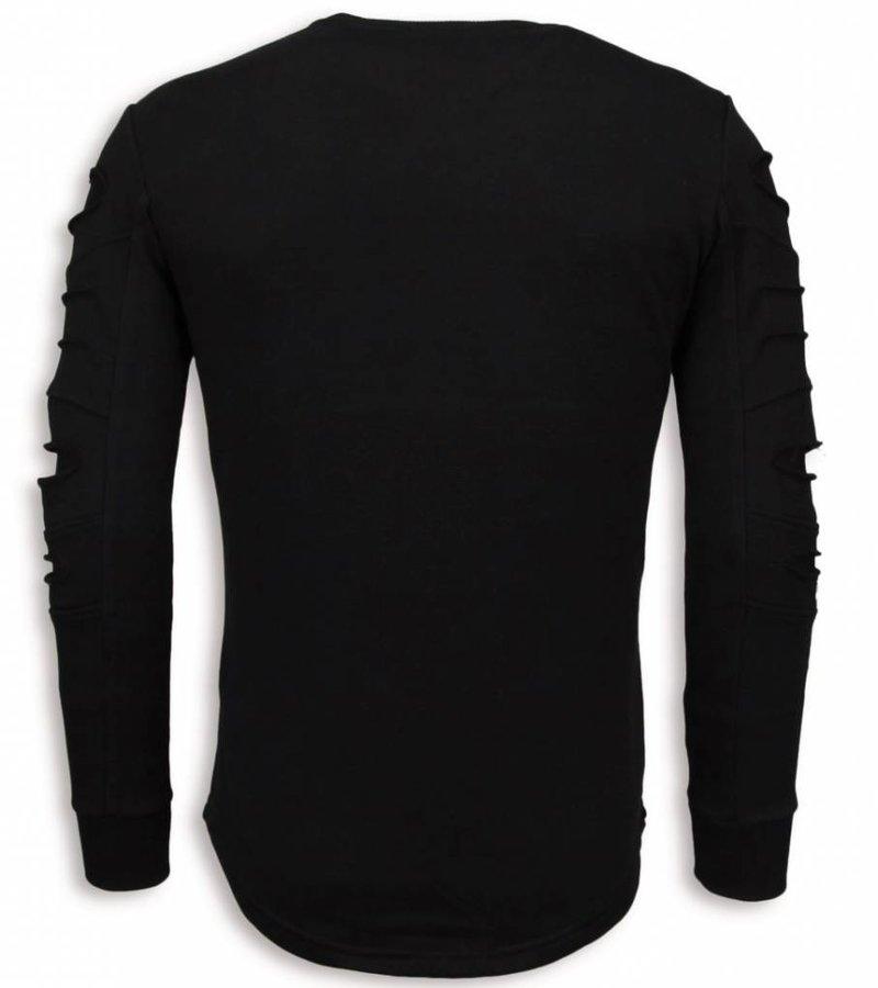 John H 3D Stamp PARIS Trui - Damaged Sweater - Zwart