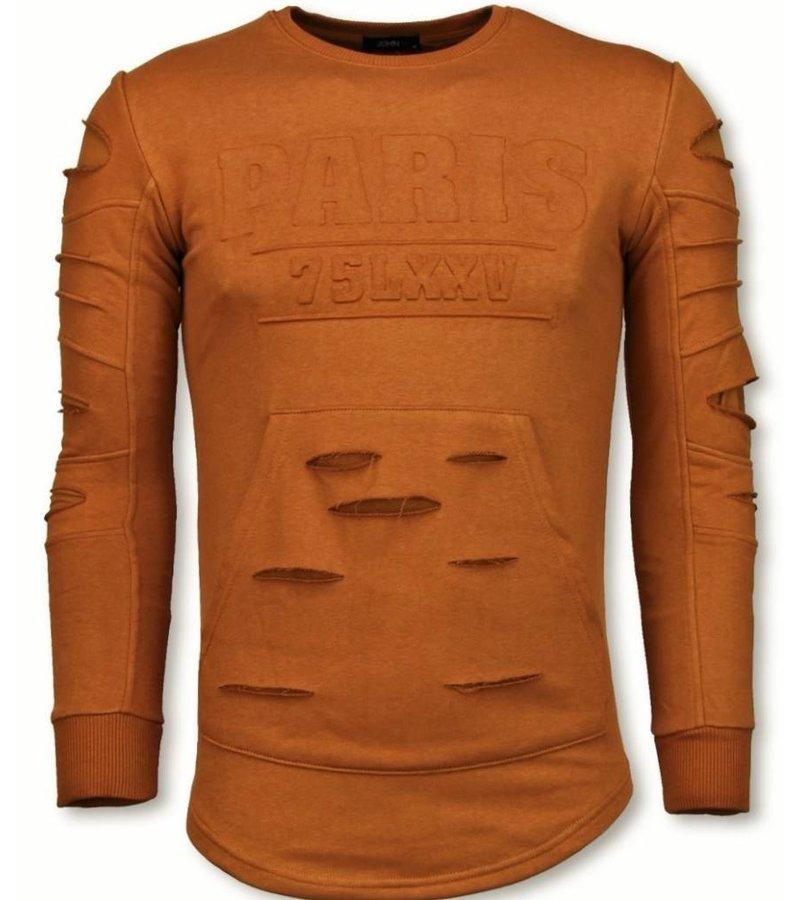 John H 3D Stamp PARIS Trui - Damaged Sweater - Oranje