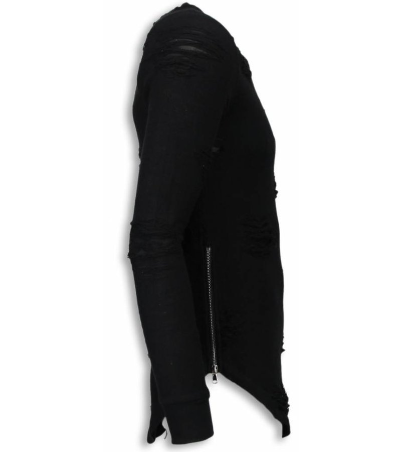 John H Destroyed Look Trui - New Trend Long Fit Sweater - Zwart