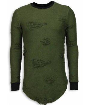 John H Destroyed Look Trui - New Trend Long Fit Sweater - Groen