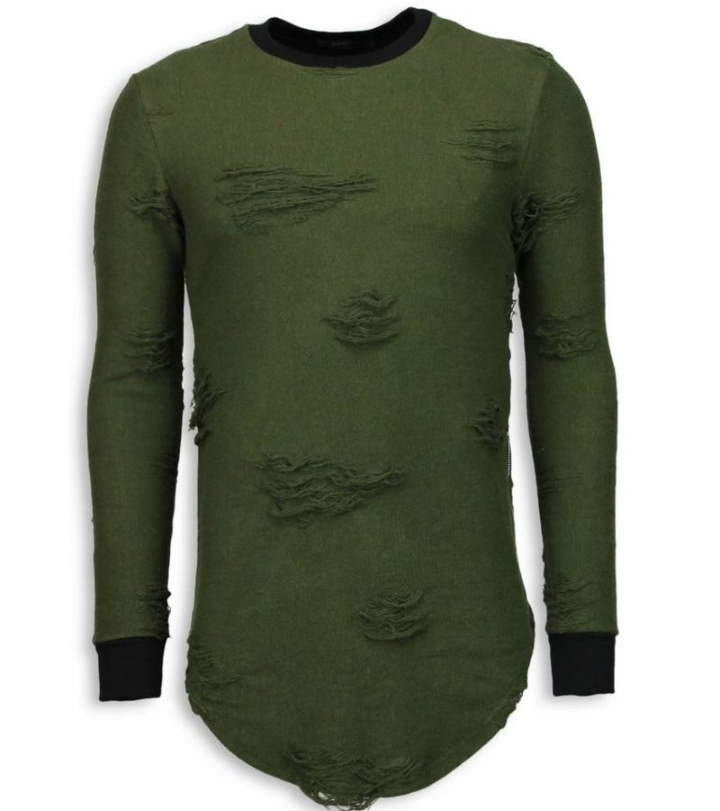 John H Destroyed Look Trui - New Trend Long Fit Sweater - Groen