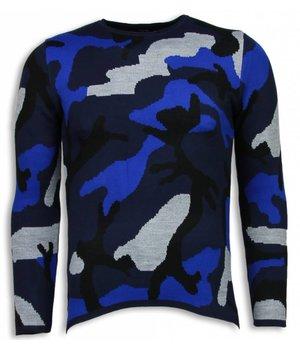 John H Dazzle Paint Trui - Camouflage Long Fit Sweater - Blauw