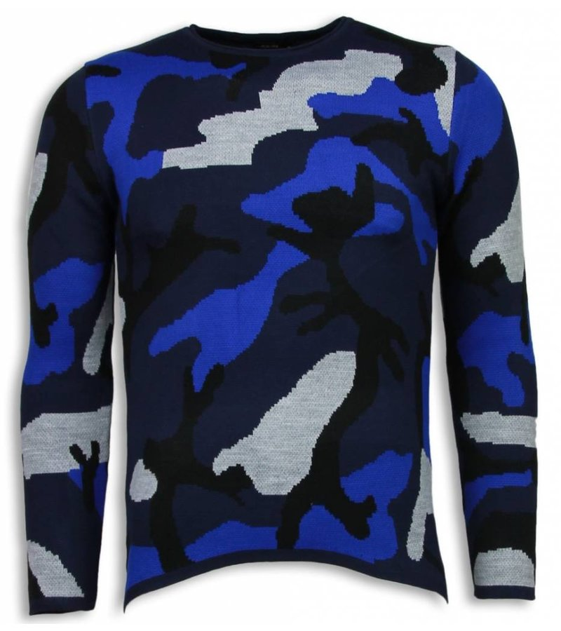 John H Dazzle Paint Trui - Camouflage Long Fit Sweater - Blauw