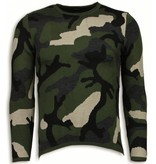 John H Dazzle Paint Trui - Camouflage Long Fit Sweater - Groen