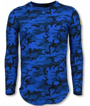 Berry Denim Leger Print Borduur Shirt - Long Sleeve T-shirt - Blauw